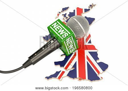 British News concept microphone news on the map of United Kingdom. 3D rendering