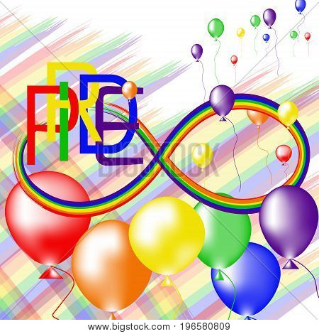 Colored rainbow balloons and text Pride. Rainbow background LGBT multicolored flag. Original symbol for gay parade. Vector design