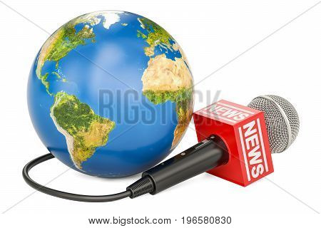 Global news concept 3D rendering isolated on white background