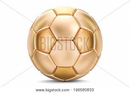 Golden soccer ball 3D rendering isolated on white background