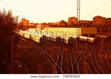 Moscow train depot city sunset background hd