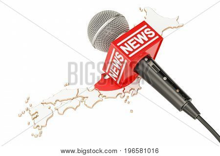 Japanese News concept microphone news on the map of Japan. 3D rendering
