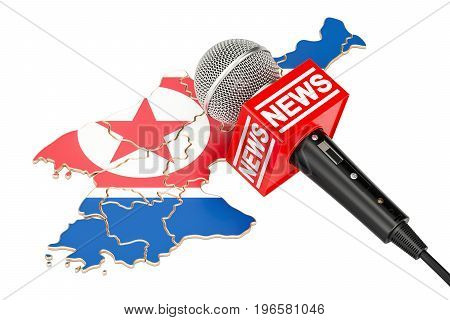 North Korea News concept microphone news on the map. 3D rendering