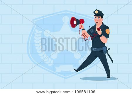 Policeman Hold Megaphone Wearing Uniform Cop Guard Over Brick Background Flat Vector Illustration