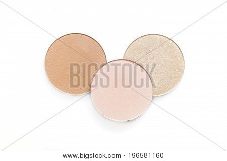 Beige and pink eye shadow or blusher isolated on the white background