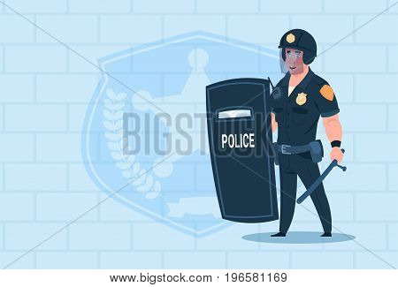 Policeman Hold Shield Wearing Helmet Uniform Cop Guard Over Brick Background Flat Vector Illustration