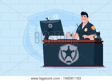 Policeman Working On Computer Wearing Uniform Cop In Guard Office Over Brick Background Flat Vector Illustration