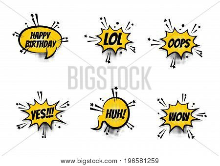 Lettering LOL, oops, wow, happy birthday. Set comics book balloon. Bubble icon speech phrase. Cartoon exclusive font label tag expression. Comic text sound effects. Sounds vector illustration.