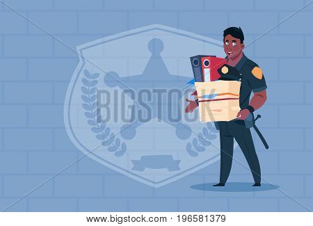 African American Policeman Fired Hold Box With Working Staff Wearing Uniform Cop Guard Over Brick Background Flat Vector Illustration