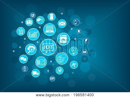 IOT internet of things concept. Blurred background with icons of connected objects and devices.