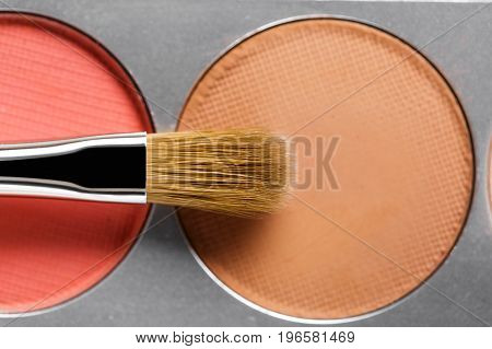 professional cosmetics. Palette of brown and terracotta eye shadow and makeup brush, top view