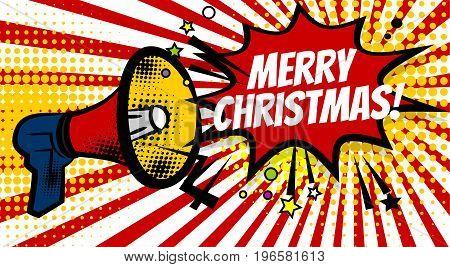 Pop art advertising Merry christmas december winter holiday message megaphone, bullhorn. Comics book text balloon. Bubble speech phrase. Cartoon font. Sounds vector halftone illustration.