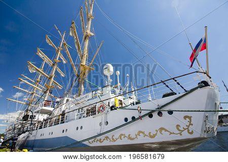 THE TALL SHIPS RACES KOTKA 2017. Kotka, Finland 16.07.2017. Ship Mir in the port of Kotka Finland