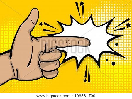 Pop art comic text cartoon strong man hand show finger pointer. Human guy wow poster halftone dot comic text  background. Gesture advertisement arm message. Bright color speech bubble illustration.