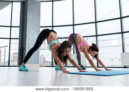 Two young slim attractive women practicing yoga standing in downward facing dog pose indoors against panoramic window.