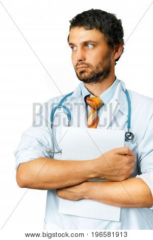 Healthcare And Medicine concept. Male Doctor with Medical Document