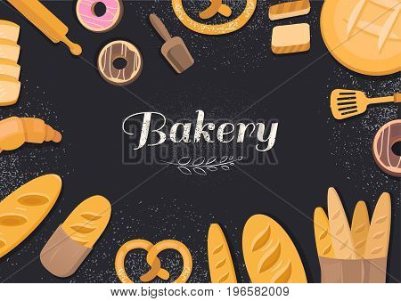 Products bakery on black background. Menu vector template cafe bakery. Collection of vector elements bread, flour, donut, baguette, croissant. Illustration of baking.