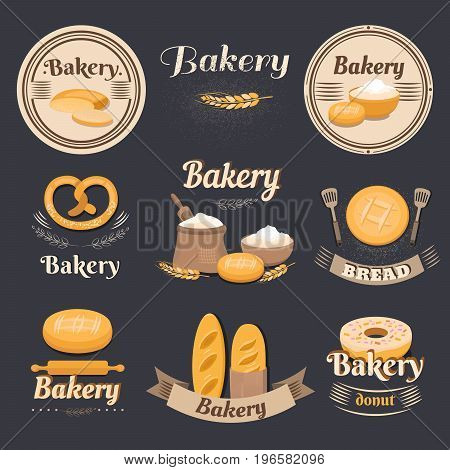 Collection of vintage bakery logo. Retro bakery labels and baking. Set of elements bread, loaf, bun, baguette, donut, pretzel, flour. Templates for business cards, menu banners coupons packaging