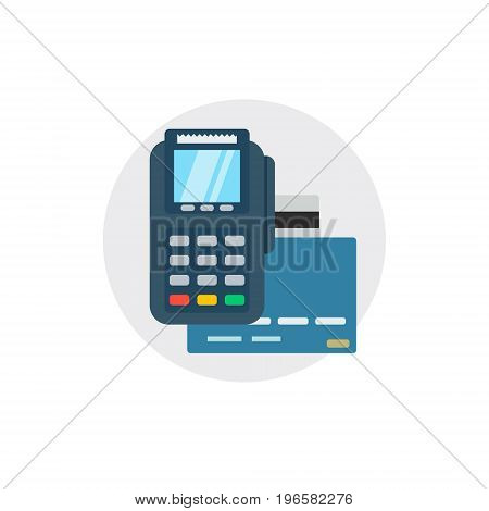 Terminal bank payment. Card pay credit shopping isolated