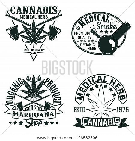 Set of Vintage medical cannabis logo designs,  grange print stamps, creative marijuana typography emblems, Vector
