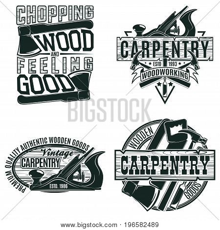 Set of Vintage woodworking logo designs,  grange print stamps, creative carpentry typography emblems, Vector