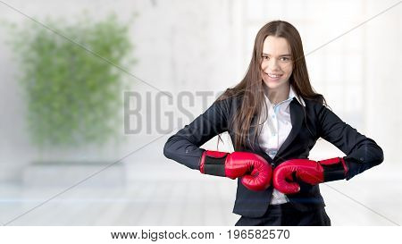 Young Business Woman Over Interior Background