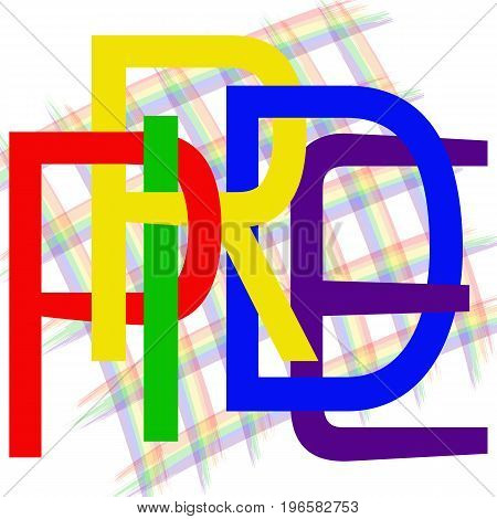 Text Pride. Using original rainbow colors. Unconventional sexual orientation for LGBT gay and lesbian parade. Vector logotype design