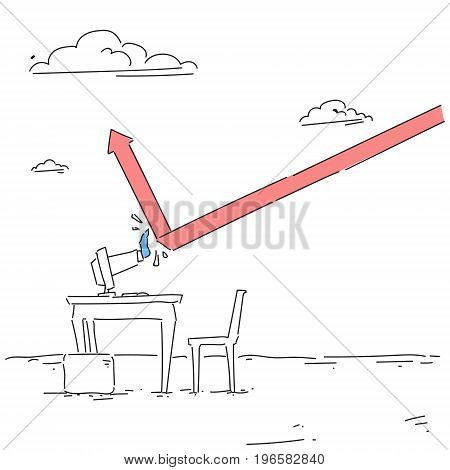Business Hand Building Finance Graph With Arrow Up From Computer Analysis Financial Progress Success Concept Vector Illustration