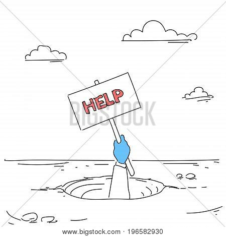 Business Hand Hold Placard Help From Hole Businessman Fail Bankruptcy Crisis Concept Vector Illustration