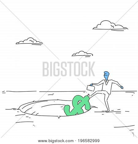 Business Man Putting Dollar In Hole Economic Fail Crisis Concept Vector Illustration