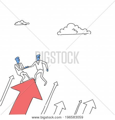 Two Businessmen Stand On Financial Arrow Up Holding Hands Successful Business Team Development Growth Vector Illustration