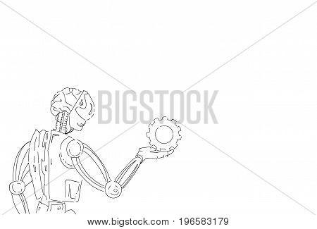 Modern Robot Hold Cog Wheel Artificial Intelligence Technology Skecth Vector Illustration