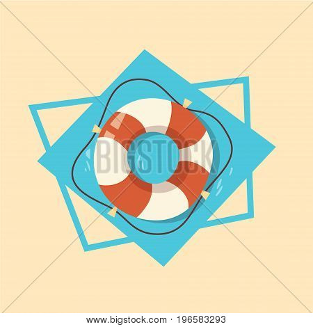 Life Buoy Icon Summer Sea Vacation Concept Summertime Holiday Vector Illustration