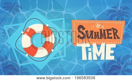 Summer Time Vacation On Sea Life Buoy In Water Retro Banner Seaside Holiday Flat Vector Illustration