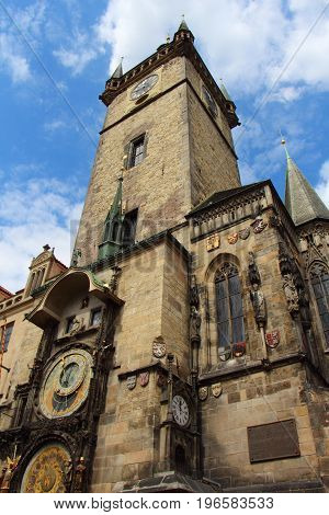Tower and astronomical clock of the ancient town hall in Prague
