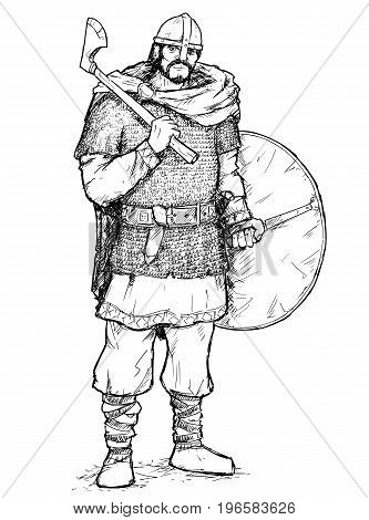 Hand drawing pen and ink illustration of ancient viking warrior in ring mail with war axe and shield.