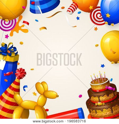 Birthday party background with balloons, cake, gift boxes, lollipop, confetti and ribbons. Place for your text.