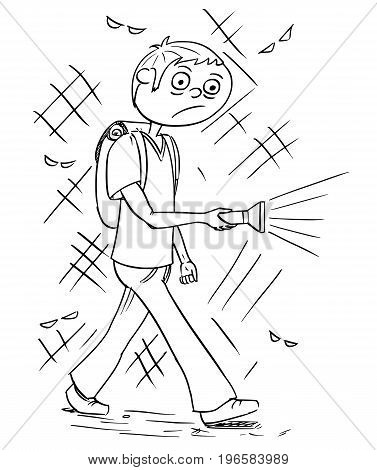 Hand drawing cartoon vector illustration of scary boy or young man holding flashlight torch walking through dark night.