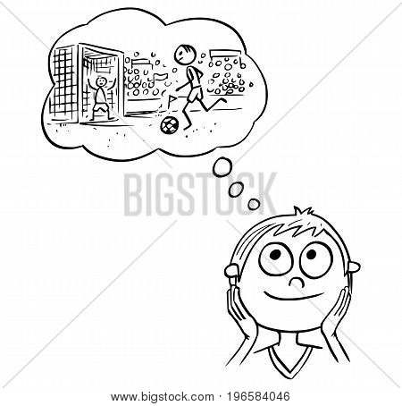 Hand drawing cartoon vector illustration of boy dreaming about football soccer player career.