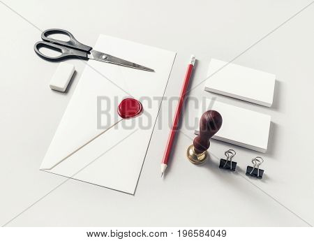 Blank stationery set on paper background. Mock-up for branding identity. Template for design presentations and portfolios.