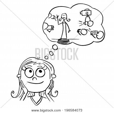 Hand drawing cartoon vector illustration of girl dreaming about live of movie music or pop star show business celebrity.