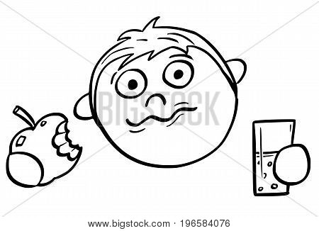 Hand drawing cartoon vector illustration of boy eating and apple and drinking from glass.
