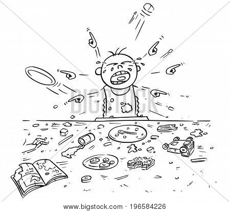 Hand drawing cartoon vector illustration of spoiled spoilt crying baby doing mess around during eating pointing and demanding things all around.