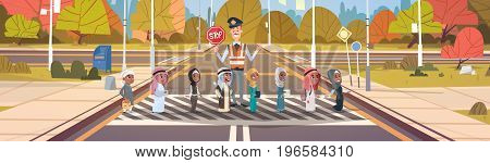Policeman Guard Helping Group Of Arab School Children To Cross Road On Crosswalk Vector Illustration