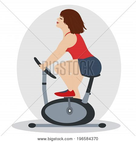 Pretty woman is engaged in fitness with pleasure.The fat girl is training on a stationary bike. Isolated on a white background. Square location. Vector cartoon illustration.