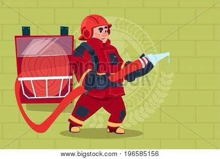 Fireman Holding Hose Wearing Uniform And Helmet Adult Fire Fighter Over Brick Background Flat Vector Illustration