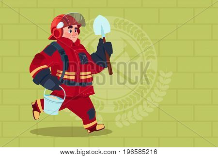 Fireman Running With Shovel And Bucket Uniform And Helmet Adult Fire Fighter Over Brick Background Flat Vector Illustration