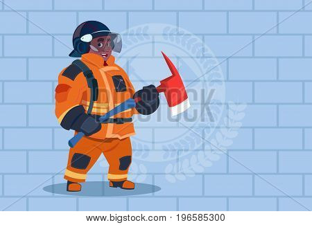 African American Fireman Holding Hammer Wearing Uniform And Helmet Adult Fire Fighter Stand Over Brick Background Flat Vector Illustration