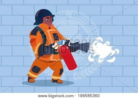 African American Fireman Hold Extinguisher Wearing Uniform And Helmet Adult Fire Fighter Stand Over Brick Background Flat Vector Illustration