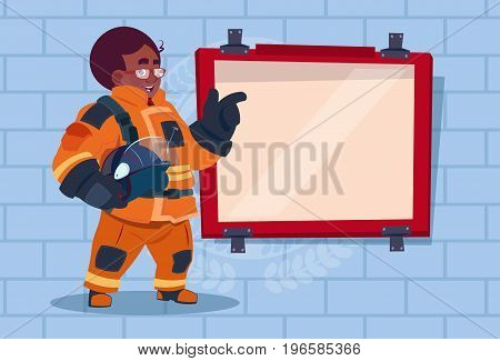 African American Fireman Leading Training Of Alarm On Board Wearing Uniform Hold Helmet Fire Fighter Over Brick Background Flat Vector Illustration